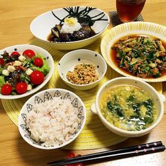 夕飯/おうちごはん 今日の夕飯🍴 茄子が美味しい季節です🍆