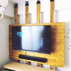 DIY/テレビ壁掛け/2×4材/1×4材/ラブリコ 初DIYでテレビの壁掛けを作りました✩°…