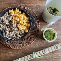 お弁当 そぼろ丼弁当🍱  きゅうりの糠漬け、玉葱…(1枚目)