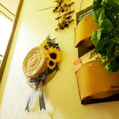 手作り/ハンドメイド/雑貨作り/キャンドゥdiy/キャンドゥリメイク/キャンドゥ/... 工作用紙と麻縄でひまわりのカンカン帽リー…