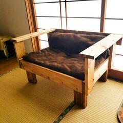 木工作品/木工/ソファー/DIY/猫 お猫様専用ソファーをDIYしてみました(…