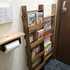 ラダー型/ラダーシェルフ/ブックシェルフDIY/ブックシェルフ/DIY 単行本専用のブックシェルフを作ってみまし…