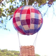 気球モビール/モビール/100均リメイク/100均/ハンドメイド/手作り/... 夏の空にぴったりな気球を作ってみました(…(7枚目)