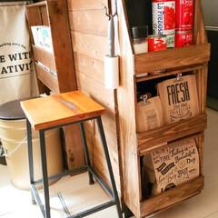 木工棚/木工DIY/木工作品/木工/DIY/キッチン収納/... キッチンカウンターの横に小さい棚を作って…