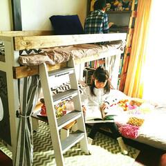 二段ベッド/子供部屋/キッズルーム/可動式 二段ベッド  下はコロ付きなので可動式