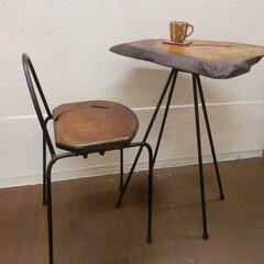カフェテーブル カフェテーブル  けや木の自然の形をその…
