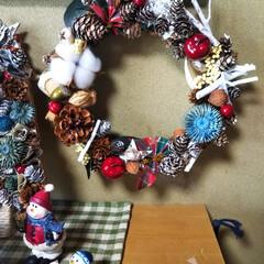 パッチワーク/端材利用/クリスマスリース/キャンドゥ/ダイソー/セリア/... 作りたかったクリスマスリースを作りました…
