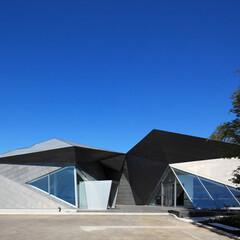 美術館 美術館本館の曲線と対比しながら調和する外…
