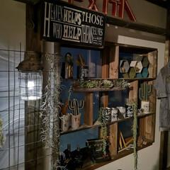 ランプ/窓枠DIY/アンティーク風ハンキングランプ/寝室インテリア/寝室/DIY/... ones_place さんの アンティー…