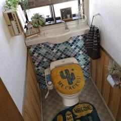 コラベルタイル柄/トイレインテリア/サボテン/トイレ/トイレマット/セリア/... 寒さも吹っ飛ばしたい。 2階のトイレ。 …