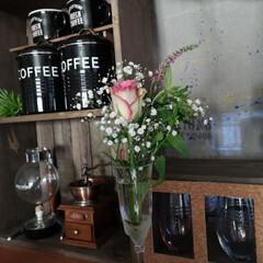 花のある暮らし/コーヒーコーナー/男前インテリア/カウンター/雑貨/100均/... 場所を変えて カウンターにお花をディスプ…