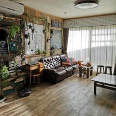 DIY/ステンシル/グリーンのある暮らし/クッションフロア/壁紙屋本舗/カリモクのソファ/... 週末にリセットしたリビング 21時前、帰…