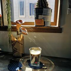 寝室/モーニングコーヒー/カウンター/DIY/インテリア/おうちカフェ 寝室の窓際カウンター。 朝のモーニングコ…