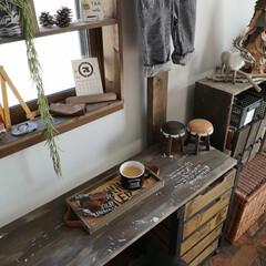 おうちカフェ/窓枠DIY/カウンター/カウンターテーブル/寝室インテリア/DIY/... 今日は 旦那は仕事 長男はスイミング と…