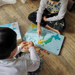 勉強/兄弟/日本地図パズル/公文/休校中の過ごし方/お家時間/... 休校中の子どもたちの過ごし方 弟が日本地…
