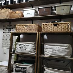 ボックス収納/ボックス/カインズ/収納アイデア/収納棚/洗面所インテリア/... 洗面所 向かいには収納スペース カインズ…