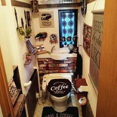すのこで棚作り/男前インテリア雑貨/男前インテリア/100均だらけ/すのこ解体/カフェ柄/... しまむらの新商品トイレセット カフェ柄で…(1枚目)