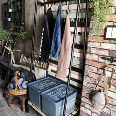 動線/トローリーハンガー/玄関/玄関インテリア/DIY/収納/... 山善のトローリーハンガーが とっても便利…