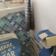 トイレインテリア/100均/コラベルタイル/シルキールーム/縫わないカバー/縫わない/... 2階のトイレ 縫わない 簡単リメイク ト…
