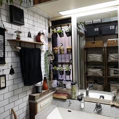 洗面所/収納の見直し/スクエアボックス/スクエア収納BOX/ダイソー/収納棚/... 洗面所 棚の収納の見直し ダイソーのスク…