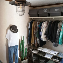 ショップ風/洋服収納/納戸/照明/ペンダントライト/DIY収納/... ペンダントライトを購入。 アイアンのイン…