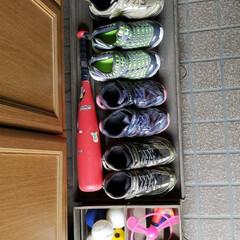 掃除が楽/玄関/隠す収納/子どもの靴収納/すのこリメイク/キャスター付き収納/... 玄関収納下のスペース。 わずか19cm。…