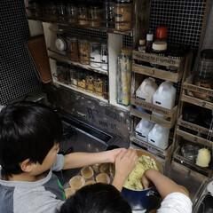 キッズクッキング/キッチン周り/DIY/キッチン/雑貨 次男も参加し スイートポテト作り。 おば…