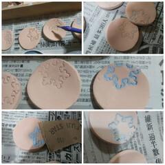 ハンドメイド/Handmade/器/陶芸/陶器 地味~な投稿を🎵 一枚目は、象嵌(ぞうが…
