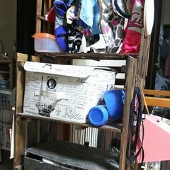 つっぱり棒/すのこリメイク/すのこDIY/ペット用品収納棚/ペット用品/DIY/... ペット用品っていつの間にか増えてきますよ…
