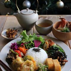 おうちカフェ/カフェごはん/ワンプレート/クリスマスツリー/おうちごはんクラブ/おうちごはん/... Today's lunch  鶏天 エリ…