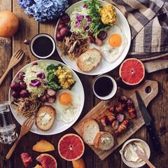 ワンプレート/パン/暮らし/朝ごはん/おうちごはん/キッチン/... Breakfast♡ ・ お休みの朝は …