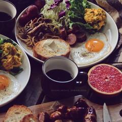 朝ごはん/肉巻きウインナー/暮らし/ワンプレート/おうちごはん/キッチン/... breakfast♡ ・ ワンプレートに…