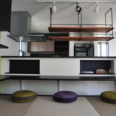 キッチン収納/座敷/小上がり/畳コーナー/注文住宅/デザイナーズ住宅/... ダイニングに小上がりの座敷、ボルダリング…