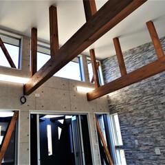 明るいリビング/明るいダイニング/風が抜ける/おしゃれな家/おしゃれなリビングダイニング/かっこいい家/... 敷地に約1m弱の高低差がある為数段の階段…