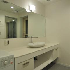 オリジナル洗面化粧台/石/タイル/メラミン/洗面ボール/水洗/... 洗面化粧台をオリジナルで造り付け、天板は…