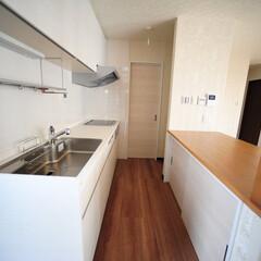 対面キッチン/カウンター収納/壁付けキッチン/アイランドキッチン/冷蔵庫 対面キッチンが多い中あえて壁付けに!キッ…