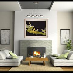 リビング/着物/伝統 洋風の大きな家具を配置したリビングルーム…