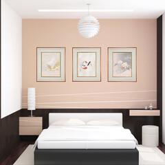 寝室/着物/伝統 着物アートがかもし出す静寂感で寝室は最高…