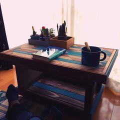 niko and.../リバーシブル/カフェテーブル/サボテン/DIY/オルテガ柄天板/... 以前作ってたオルテガ柄の天板に脚部分を …