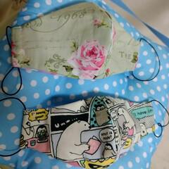 手作りマスク/コロナになんか負けない!/頑張れ北海道/頑張れ日本/暮らし 裁縫箱を整理整頓。 布どうせ捨てるくらい…
