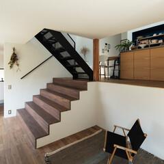 新築/木造/住宅/間取り/戸建て/大阪/... リビングから大きな階段を見返す。床はナラ…