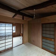 奈良/京都/大阪/建築家/設計事務所/町家/... 2階。既存天井板を剥がして船底天井に変更。