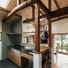 キッチン/カウンター/和モダン/レトロ/シンプル/ナチュラル/... 家具製作のキッチン。十分な作業スペースを…