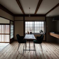 擁壁/瓦/奈良/大阪/京都/リフォーム/... シンプルな壁付けキッチンと家電置き場とし…