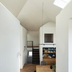 新築/木造/住宅/戸建て/リビング/ダイニング/... 南東から四つ角を見る。キッチンバックセッ…