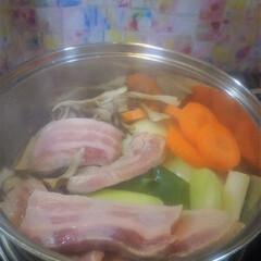 コンロ専用パネル/なっかん/おうちごはん/油跳ね防止パネル/対面キッチン/アイランド型キッチン/... ~肉と野菜の茹でもの。~  「茹でる料理…