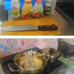キッチン大好き。/男の台所/キッチンパネル/コンロ/アイカ/インテリア/... 前にテレビで見たレシピを思い出しながらの…