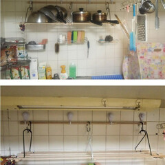 男の台所/コンロ専用パネル/対面キッチン/パネル/アイカ/アイランドキッチン/... スノコ棚2  鍋をたくさん置きたくて、前…