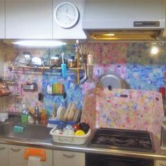 コンロ専用パネル/なっかん/my kitchen/油跳ね防止パネル/対面キッチン/キッチンパネル/... ~我が家のキッチン風景。~  子供達もス…