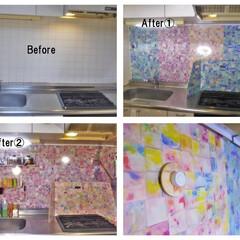 コンロ専用パネル/DIY/なっかん/対面キッチン/アイランド型キッチン/プラスワンダー/... ~彩。~  この殺風景な台所に彩があった…